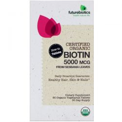 FutureBiotics, Certified Organic Biotin, 5000 mcg, 90 Organic Vegetarian Tablets