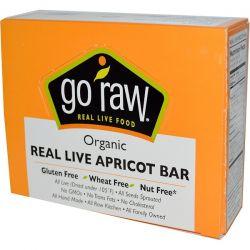 Go Raw, Organic, Real Live Apricot Bar, 10 Bars, 12 g Each  Historyczne