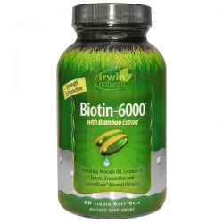Irwin Naturals, Biotin-6000, With Bamboo Extract, 60 Liquid Soft-Gels