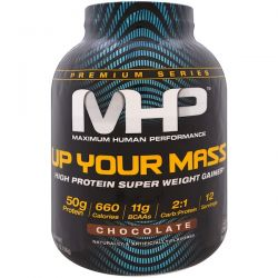 Maximum Human Performance, LLC, Up Your Mass, High Protein Super  Weight Gainer, Chocolate, 4.71 lbs (2,136 g) Pozostałe