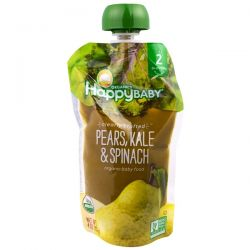 Nurture Inc. (Happy Baby), Organic Baby Food, Stage 2, Clearly Crafted, 6+ Months, Pears, Kale & Spinach, 4.0 oz (113 g) Country