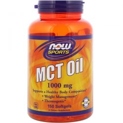 Now Foods, Sports, MCT Oil, 1,000 mg, 150 Softgels Historyczne