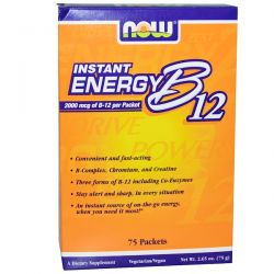 Now Foods, Instant Energy B-12, 2000 mcg, 75 Packets, (1 g) Each Historyczne