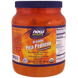 Now Foods, Sports, Organic Pea Protein, Natural Chocolate, 1.5 lbs (680 g)