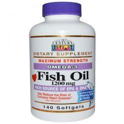 21st Century, Fish Oil, Omega-3, Maximum Strength, 1200 mg, 140 Softgels Biografie, wspomnienia
