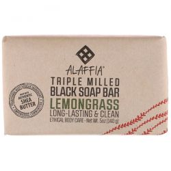 Alaffia, Triple Milled Black Soap Bar, Lemongrass, 5 oz (140 g) Biografie, wspomnienia