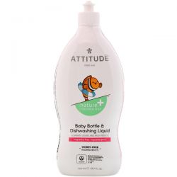 ATTITUDE, Baby Bottle & Dishwashing Liquid, Fragrance-Free, 23.7 fl oz (700 ml) Pozostałe