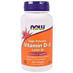 Now Foods, Vitamin D-3, 1,000 IU, 180 Softgels Pozostałe