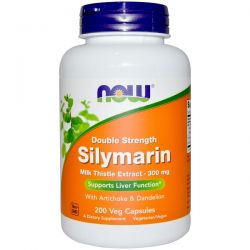 Now Foods, Silymarin, Milk Thistle Extract with Artichoke & Dandelion, Double Strength, 300 mg, 200 Veg Capsules