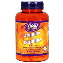 Now Foods, Sports, Arginine & Citrulline, 500 mg /250 mg, 120 Veg Capsules Pozostałe