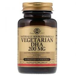 Solgar, Naturally Sourced Omega-3, Vegetarian DHA, 200 mg, 50 Vegetarian Softgels Zdrowie i Uroda