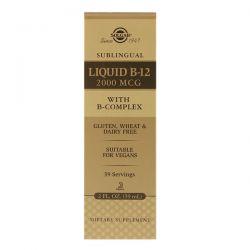 Solgar, Sublingual, Liquid B12, 2000 MCG, 2 fl oz (59.2 ml) Zdrowie i Uroda