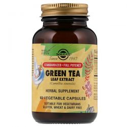Solgar, Green Tea Leaf Extract, 60 Vegetable Capsules Zdrowie i Uroda