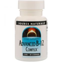 Source Naturals, Advanced B-12 Complex, 5 mg, 60 Lozenges Pozostałe