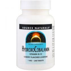 Source Naturals, HydroxoCobalamin, Vitamin B-12, Cherry Flavored Lozenge, 1 mg , 240 Tablets Pozostałe