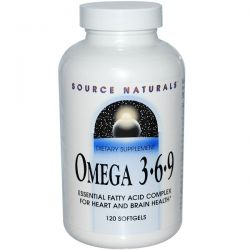 Source Naturals, Omega 3 6 9, 120 Softgels Pozostałe