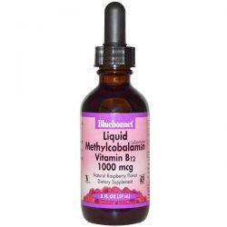 Bluebonnet Nutrition, Liquid Methylcobalamin Vitamin B12, Natural Raspberry Flavor, 1000 mcg, 2 fl oz (59 ml)