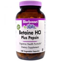 Bluebonnet Nutrition, Betaine HCl, Plus Pepsin, 180 Veggie Caps