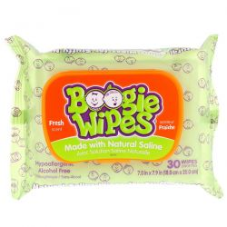 Boogie Wipes, Natural Saline Wipes for Stuffy Noses, Fresh Scent, 30 Wipes