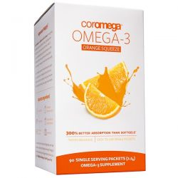 Coromega, Omega-3 Orange Squeeze, 90 Packets, 2.5 g Each Pozostałe