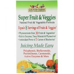 Country Farms, Super Fruit & Veggies, Natural Fruit & Vegetable Formula, 60 Capsules Pozostałe