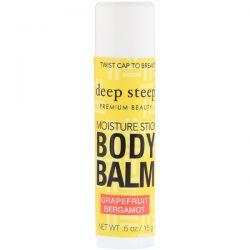 Deep Steep, Deep Steep, Moisture Stick Body Balm, Grapefruit Bergamot, .5 oz (15 g)