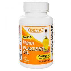Deva, Vegan, Flaxseed Oil, Omega-3, 90 Vegan Caps