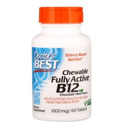 Doctor's Best, Chewable Fully Active B12, Chocolate Mint, 1,000 mcg, 60 Tablets Pozostałe