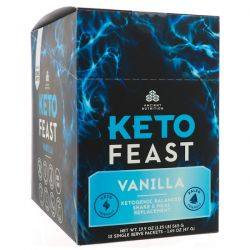 Dr. Axe / Ancient Nutrition, Keto Feast, Ketogenic Balanced Shake & Meal Replacement, Vanilla, 12 Single Serve Packets, 1.65 oz (47 g) Each Pozostałe