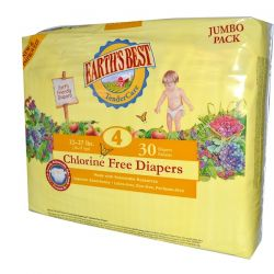 Earth's Best, TenderCare, Chlorine Free Diapers, Size 4, 22-37 lbs, 30 Diapers Zdrowie i Uroda