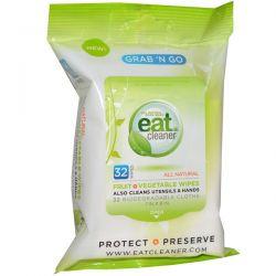 Eat Cleaner, Grab 'N Go Fruit + Vegetable Wipes, 32 Wipes, 7 in X 8 in Each Zdrowie i Uroda