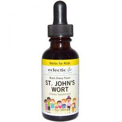 Eclectic Institute, Herbs For Kids, St. John's Wort, Black Cherry Flavor, 1 fl oz (30 ml) Zdrowie i Uroda