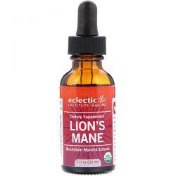 Eclectic Institute, Lion's Mane, Mushroom Mycelia Extract , 1 fl oz (30 ml) Zdrowie i Uroda