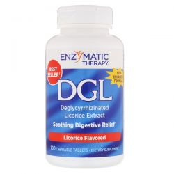 Enzymatic Therapy, DGL, Deglycyrrhizinated Licorice Extract, Licorice Flavored, 100 Chewable Tablets Pozostałe
