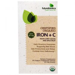 FutureBiotics, Certified Organic Iron + C, 90 Organic Veggie Tablets
