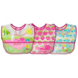 i play Inc., Green Sprouts, Wipe-Off Bibs, 9-18 Months, Pink Picnic Set, 3 Pack