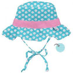 i play Inc., Classic Reversible Ruffle Bucket Sun Protection Hat, 9-18 Months, Aqua Daisy