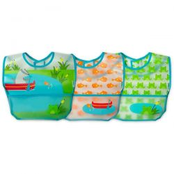 i play Inc., Green Sprouts, Wipe-Off Bibs, 9-18 Months, Aqua Pond Set, 3 Pack