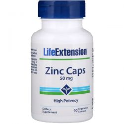 Life Extension, Zinc Caps, High Potency, 50 mg, 90 Veggie Caps Pozostałe