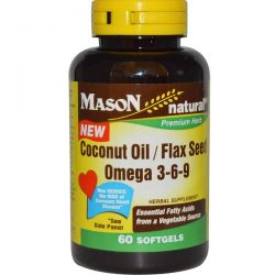 Mason Natural, Coconut Oil / Flax Seed Omega 3-6-9, 60 Softgels Pozostałe
