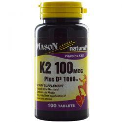 Mason Natural, K2 Plus D3, 100 mcg/1000 IU, 100 Tablets