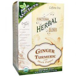 Mate Factor, Organic Functional Herbal Blends, Ginger Turmeric with Black Pepper, 20 Tea Bags, (3.5 g) Each