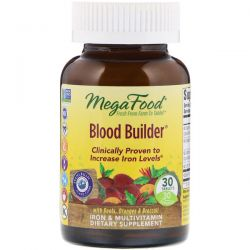 MegaFood, Blood Builder, Iron & Multivitamin Supplement, 30 Tablets Pozostałe