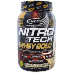 Muscletech, Nitro Tech, 100% Whey Gold, Cookies And Cream, 2.20 lbs (999 g) Biografie, wspomnienia