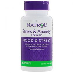 Natrol, Stress & Anxiety Formula, Mood & Stress, 90 Capsules