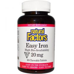 Natural Factors, Easy Iron, 20 mg, 60 Chewable Tablets