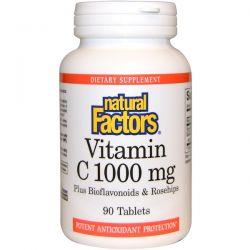 Natural Factors, Vitamin C, Plus Bioflavonoids & Rosehips, 1000 mg, 90 Tablets