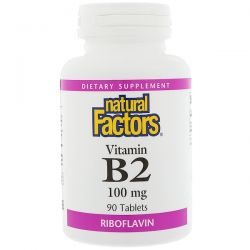 Natural Factors, Vitamin B2 Riboflavin, 100 mg, 90 Tablets Pozostałe