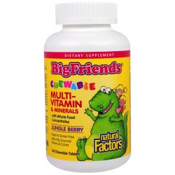 Natural Factors, Big Friends, Chewable Multi-Vitamin & Minerals, Jungle Berry, 60 Chewable Tablets Biografie, wspomnienia