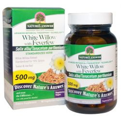Nature's Answer, White Willow with Feverfew, 500 mg, 60 Vegetarian Capsules Pozostałe